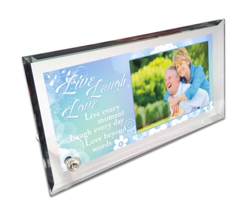 Personalised Live, Laugh & Love Quote Crystal Photo Frame